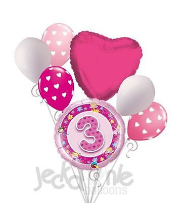 Pink Faries & Flowers 3rd Birthday Balloon Bouquet