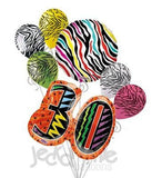 Wild at 30 Colorful Zebra Print Balloon Bouquet