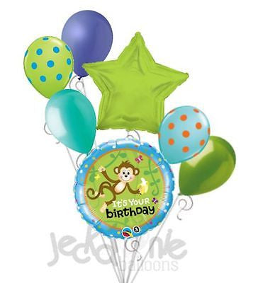 Mischevious Monkey Happy Birthday Balloon Bouquet
