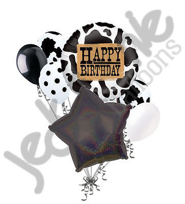 Western Cow Happy Birthday Balloon Bouquet