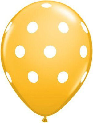 Qualatex Big Polka Dot Goldenrod Latex Balloons