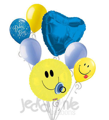 Smiley Face Baby Boy Balloon Bouquet