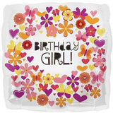 Butterfly & Flowers Birthday Girl Balloon Bouquet