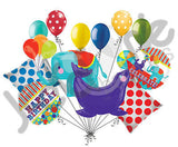 Circus Animal Elephant & Seal Happy Birthday Balloon Bouquet