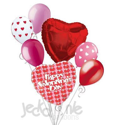 Red Line of Hearts Happy Valentine's Day Balloon Bouquet