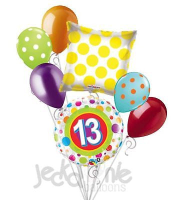 Polka Dots 13th Birthday Balloon Bouquet