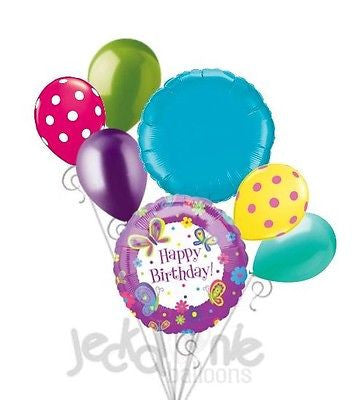 Purple Butterfly Happy Birthday Balloon Bouquet