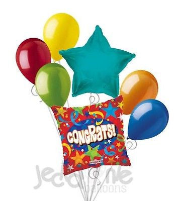 Red Congrats Stars & Swirls Balloon Bouquet