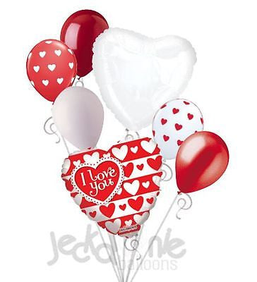 Red & White Hearts I Love You Balloon Bouquet