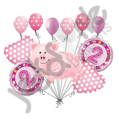 Pink Farm Pig & Animals 2nd Birthday Balloon Bouquet