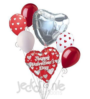 Silver Hanging Hearts Happy Valentines Day Balloon Bouquet
