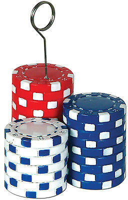 5 inch Red Blue & White Poker Chips Photo Holder Balloon Weight 5.9 ounces
