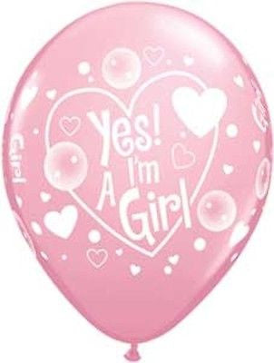 Qualatex Yes I'm a Baby Girl Latex Balloons