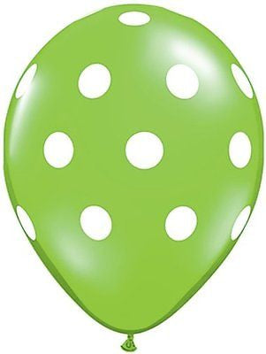 Qualatex Big Polka Dot Lime Green Latex Balloons
