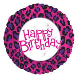 Pink & Purple Cheetah Happy Birthday Balloon Bouquet