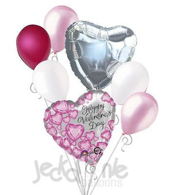 Pink Diamonds Happy Valentines Day Balloon Bouquet