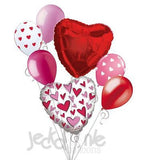 Red & Pink Cutesy Love Hearts Balloon Bouquet