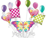 Luminous Colorful Butterfly Happy Birthday Balloon Bouquet