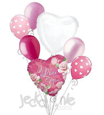 Pink Roses I Love You Balloon Bouquet