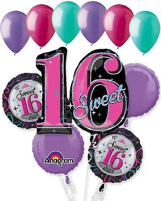 Sparkling Sweet 16 Balloon Bouquet 16th