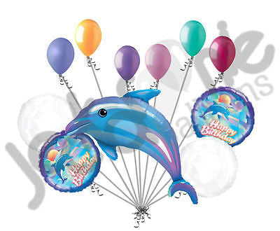 Blue Delightful Dolphin Happy Birthday Balloon Bouquet