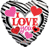 Zebra & Dots I Love You Balloon Bouquet