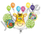 Jolly Giraffe Happy Birthday Balloon Bouquet