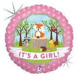 It's a Baby Girl Woodland Critters Fox Balloon Bouquet