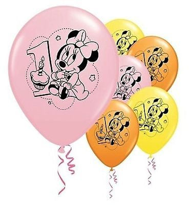 Baby Minnie Mouse 1st Birthday Latex Balloons