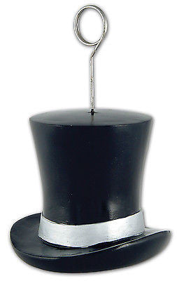 5 inch Black Top Hat Photo Holder Balloon Weight 4.2 ounces Tie Magician Prom