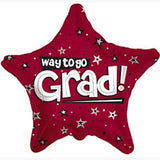Maroon Way to Go Grad Star Balloon
