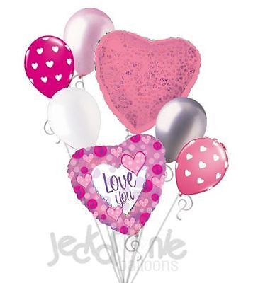 Pink Dazzeloon I Love You Balloon Bouquet