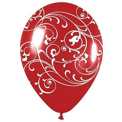 Red Filigree Swirl Latex Balloons