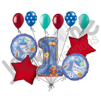 Blue Hugs & Stitches 1st Birthday Sports All-Star Balloon Bouquet