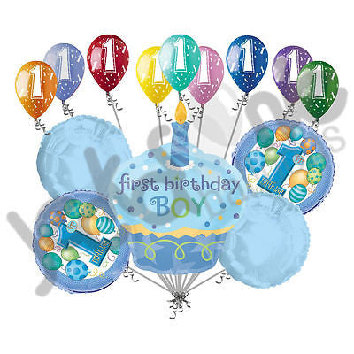 Blue Cupcake 1st Birthday Boy Balloon Bouquet