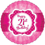 Hot Pink & Polka Dots Happy 21st Birthday Balloon Bouquet