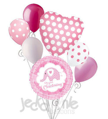 On Your Christening Elephant Pink Girl Balloon Bouquet