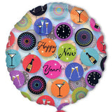 New Years Eve Colorful Icons on Clear Balloon Bouquet