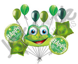 Funny Green Frog Happy Birthday Balloon Bouquet