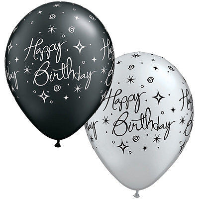 Qualatex Elegant Black & Silver Happy Birthday Latex Balloons
