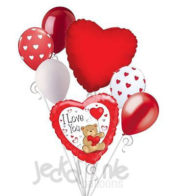 Teddy Bear with Heart I Love You Balloon Bouquet