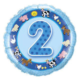 Blue Farm Pig & Animals 2nd Birthday Balloon Bouquet