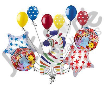 Circus Zebra Happy Birthday Balloon Bouquet