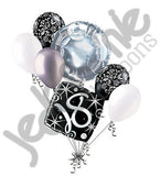Elegant Happy 18th Birthday Sparkles Balloon Bouquet