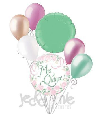 Mis Quince Pink Flowers Balloon Bouquet