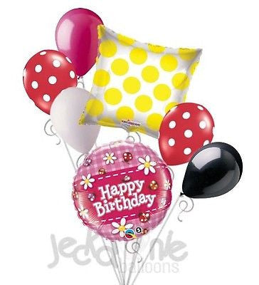 Ladybugs & Dasies Happy Birthday Balloon Bouquet