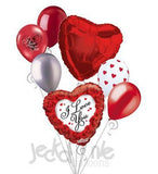 Red Rose Border I Love You Balloon Bouquet