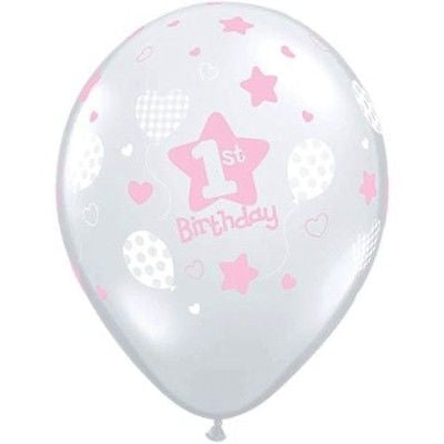 Soft 1st Birthday Pink Girl Latex Balloons