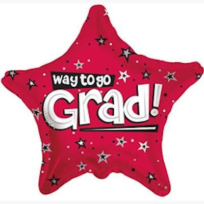Red Way to Go Grad Star Balloon