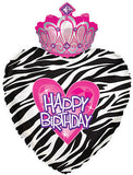Happy Birthday Princess Zebra Balloon Bouquet